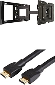 AmazonBasics Articulating TV Wall Mount for 32-inch to 80-inch TVs & High-Speed HDMI Cable - 15 Feet (Latest Standard)