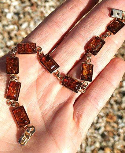 - 14kt Amber Bracelet, Baltic Amber Bracelet, Solid 14kt Yellow Gold, vintage and unworn, 7.5 inches,
