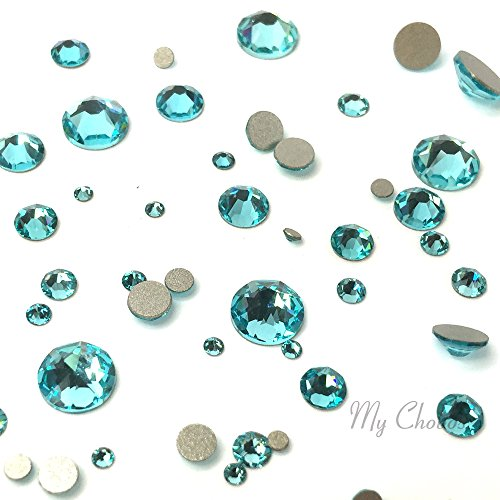 LIGHT TURQUOISE (263) green teal 144 pcs 2058/2088 SWAROVSKI Crystal Flatbacks rhinestones nail art mixed with Sizes ss5, ss7, ss9, ss12, ss16, ss20, ss30 **FREE Shipping from Mychobos (Crystal-Wholesale)**