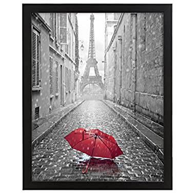 11x14-inch Black Picture Frame - Made to Display Pictures 8x10-inches with Mat or 11x14-inches Without Mat - Hanging Hardware Included - Glass Front