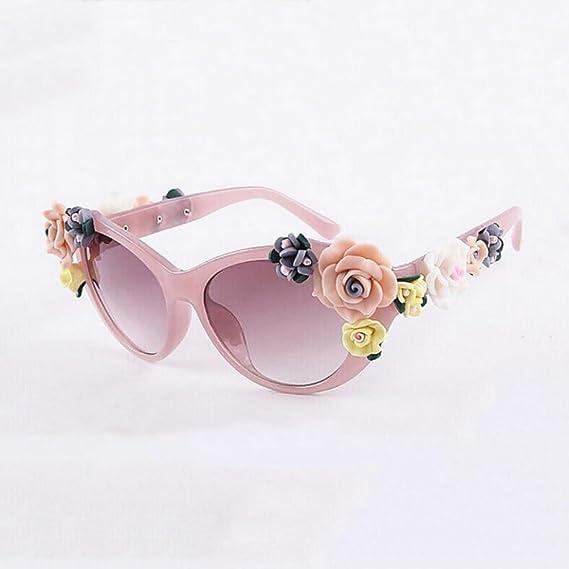HONEY Lady Vintage Baroque Floral Lunettes de soleil - Summer Glasses - Stereo Rose (Couleur : Tortoiseshell Color) ijDxGq