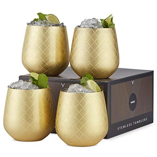 (VonShef Gold Stemless Wine Glasses, Etched Gold Stainless Steel, 12oz Cups, Set of 4 Wine Tumblers with Gift Box)
