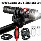 1000 Lumen Bike Light USB Rechargeable Stepless dimming FREE Taillight INCLUDED 360 Degree Rotation Mount Cycle Torch Easy Install & Quick Release Fits ALL Bikes Mountain Hybrid Road MTB