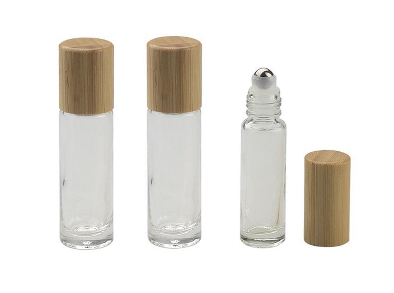 3PCS 10ML/0, 35OZ Clear Glas Ätherisches Öl Roll-on Fläschchen Flaschen mit Stahl Roller Balls und Bambus Deckel Kosmetik Make-Up Parfüm Lipgloss Lagerung Inhaber Verpackung Container Upstore