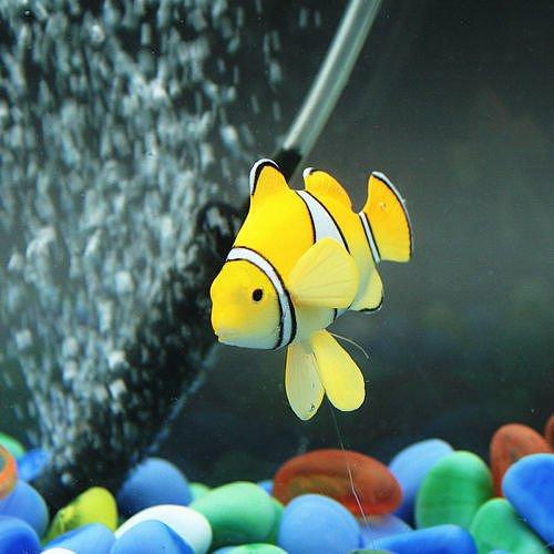 Clownfish Yellow Aquarium Fish Tank Landscape Decoration Glow Simulation Animal Plants Ornament Nemo & Rumble Fish (Fancy Clownfish)