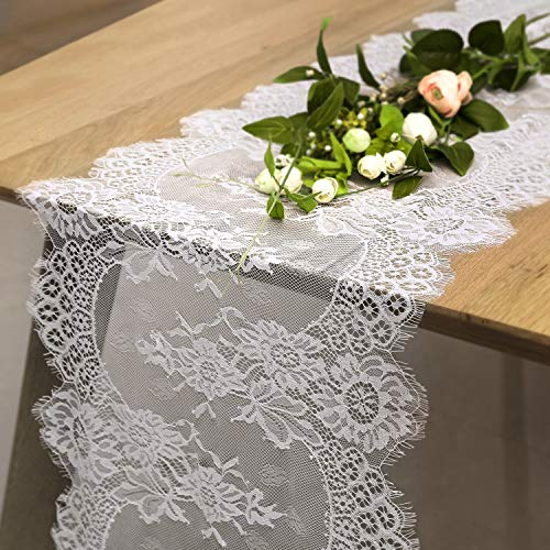 SoarDream White Lace Table Runners Round Lace Runners for Tables Bridal/Baby Shower Decor Vintage Lace Table Runner 14