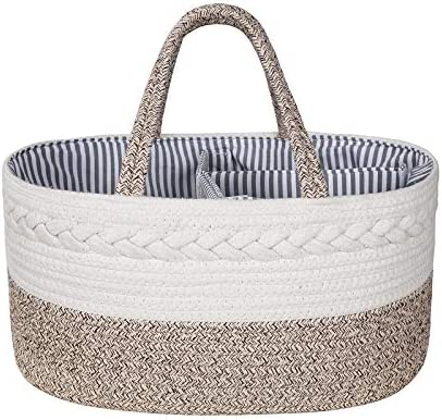 Baby Diaper Caddy Organizer Changing Table Organizer Basket Top Baby Shower Gift Cotton Rope Portable Basket Diaper Basket Nursery Storage Bin with Removable Inserts