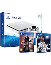 PS4 Slim 500Go Blanche Playstation 4 Pack 2 Jeux - FIFA 18 + Bloodborne GOTY