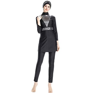 9606a978e1efb6 BaronHong Women's Modest Islamic Swimsuits with Cap Full Cover Sequin  Muslim Burkini(Black,S