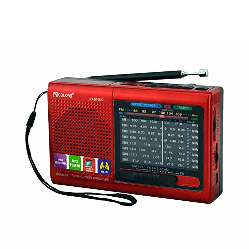 FM/AM / SW (1-7) 9-Wave Band Smart-US Rechargeable Portable Professional Radio That can be Used as MP3 and Speakers by Connecting Bluetooth, USB Sticks and Memory Cards (Red) by Smart-US
