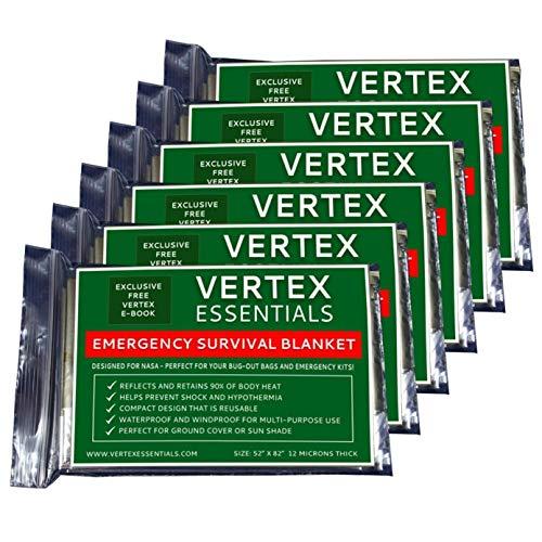 Vertex Essentials Emergency Blanket (6-Pack), 52