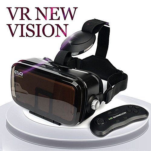 ETVR Immersive Virtual Reality Headset, Exquisito & Comfortable 3D VR Glasses Goggles Gift With Remote Controller Fit For 4.5'-6.2' iPhone7/6/ 6s plus, Samsung S5/6/7 Edge Etc