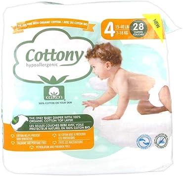 Cottony - Pañales con algodón ecológico 28 capas, talla 4 (7-18 kg ...
