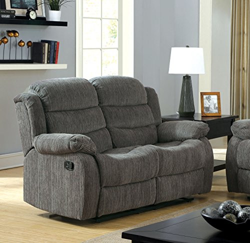 Furniture Of America Blake Chenille Love Seat With 2 Recliner Gray Best Sofas Online Usa