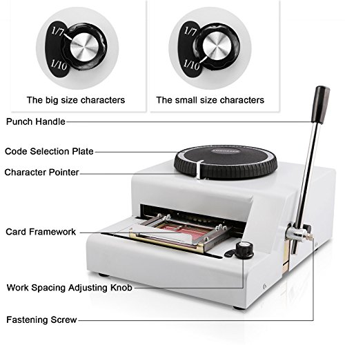 Happybuy 72Characters 72 Characters Printer PVC Card Stamping Machine Credit ID VIP Magnetic Embossing