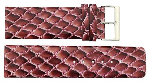 Moog Paris Purple Calf Leather Watch Band, Python Pattern, Pin Clasp, 26mm Strap B26005
