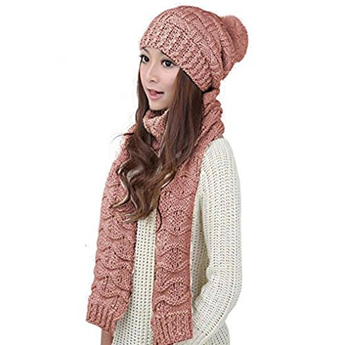 HANERDUN Women Girls Fashion Winter Warm Knitted Hat Beanie Hat Scarf Set Shrimp Pink (Thick Womens Hat Set And Scarf)