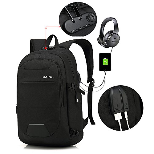 Anti-theft Travel Laptop Backpack with Lock,Professional Business Backpack with USB Charging Port, Durable Slim Lightweight Water Resistant School Rucksack for Women Men, Fits 15.6 Inch Laptop (Black) (Notebook Lock Durable)