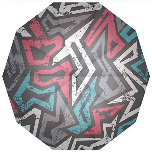 10 Ribs Travel Umbrella UV Protection Auto Open Close Grunge,Abstract Shapes in Graffiti Art Style Underground Hip Hop Culture Funky Windproof - Waterproof - Men - Women -Lightweight- 45 inches