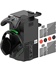 Controller Holder Top Dust Cover for Xbox Series X Console, MENEEA 16 in 1 Accessories Bundle for Xbox Series X, 2 Sets Dust Proof Filter Cover, 2 Pack Controller Cradle Bracket/Headsets Stand Mount