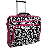 Ladies DAMASK with Pink Trim Rolling 15.5 Inch Computer Laptop Bag Brief Case, Bags Central