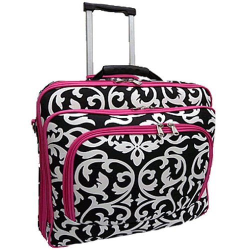 Ladies Wheeled Briefcase Removable (Ladies DAMASK with Pink Trim Rolling Computer Laptop Bag Brief Case -- FITS A 13