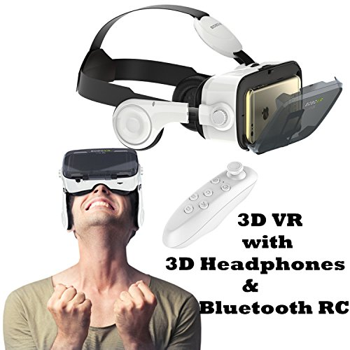 """3D VR Glasses/Headset, Tsanglight Virtual Reality Headset with 3D Headphones & Remote for Android Samsung Galaxy S7 Edge/S7/S6/A5/A3 2016, IOS iPhone 7/7 Plus/6/6S Plus & Other 4.7-6.2"""" Cellphones"""