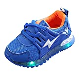 Aritone 1-6T Kids Baby Girls Boys Shoes,Lightning LED Luminous Sneakers,Anti-Slip Breathable Mesh Running Sport Shoes (Blue, Age:3.5-4T / US:8)