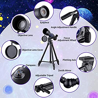 Phone Adapter Moon Filter,Compass Moon Map HUTACT Telescope for Kid HD 90X Refractor Telescopes for Astronomy Adjustable Tripod