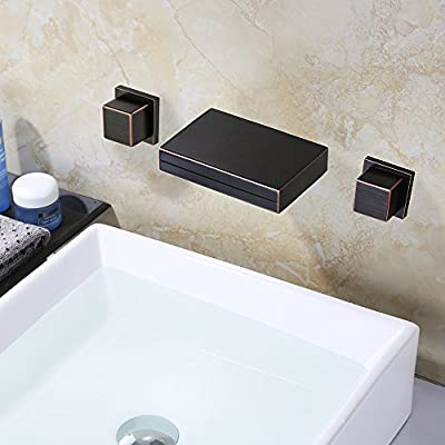 LightInTheBox Waterfall Oil-rubbed Bronze Bathroom Sink Faucet ORB Bathtub Faucets Wall Mounted Two Handles Three Holes Lavatory Mixer Taps,Ceramic Valve