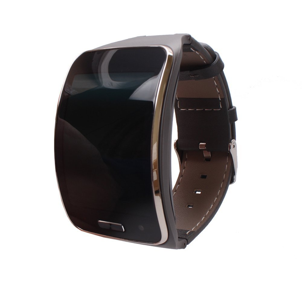 Genuine Leather Replacement New Bracelet Wristband For Samsung Galaxy Gear S SM-R750 Smart Watch (Gray)