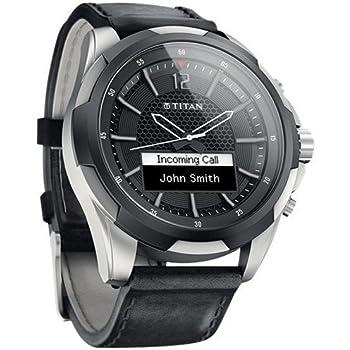 Titan Titanium Smartwatch N3U46AA with Black Leather Straps