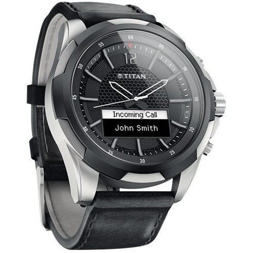 Titan Titanium Smartwatch N3U46AA with Black Leather Straps