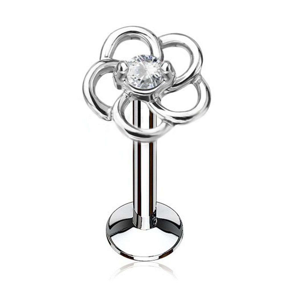16G CZ Center Hollow Flower Top 316L Surgical Steel Internally Threaded Labret Monroe Cartilage Stud (Choose COLOR) (Steel 1/4 (6mm))
