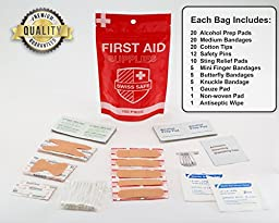 Small Basic First Aid Kit Supplies【100-Piece】: The Most Lightweight and Portable Emergency First Aid Kit