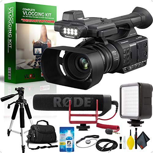 Panasonic AG-AC30 Full HD Camcorder with Touch Panel LCD Viewscreen and Built-in LED Light Complete Vlogging Equipment - Led Panasonic Hd