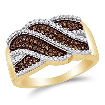 Sonia Jewels 10K Yellow Gold Chocolate Brown & White Round Diamond Fashion Ring - Channel Setting (1/3 cttw.) by Sonia Jewels