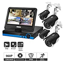 Home Security Camera System, 4CH 960p AHD Video Security System DVR and 4 Indoor/Outdoor Weatherproof Surveillance Cameras with 100ft IR Night Vision LEDs (with Display Screen, No HDD)