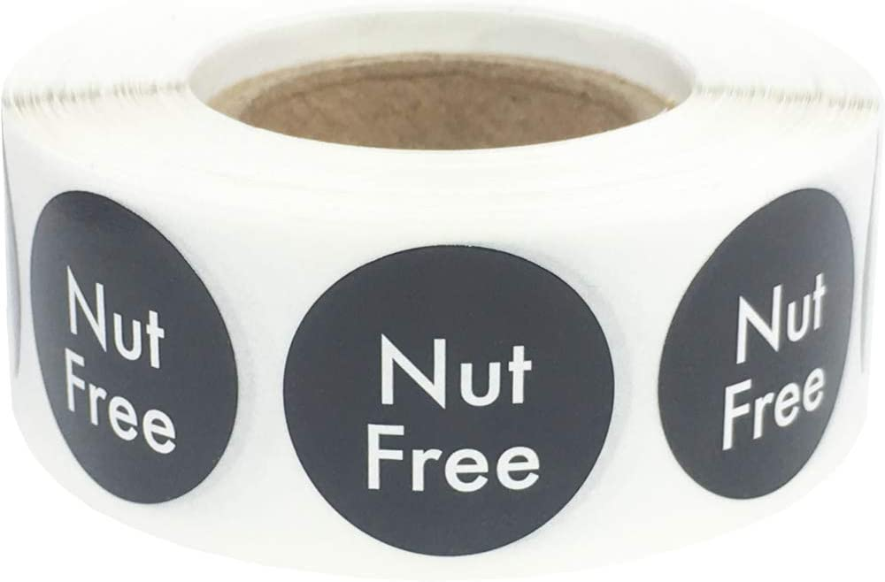 Nut Free Labels .75 Inch Round Circle Dots 500 Adhesive Stickers
