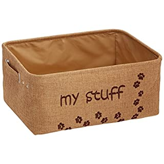 """Winifred & Lily Pet Toy and Accessory Storage Bin, Organizer Storage Basket for Pet Toys, Blankets, Leashes and Food in Embroidered """"My Stuff"""", Khaki"""