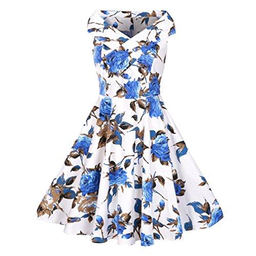 MILEEO Damen 1950er Retro Vintage Sommerkleid Partykleid ...