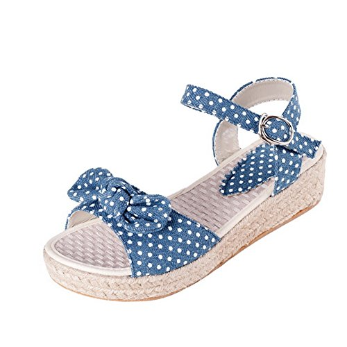 Allhqfashion Womens Gesp Open Teen Lage Hakken Denim Assorti Kleur Wiggen-sandalen Blauw