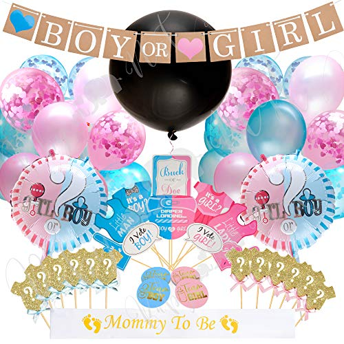 Baby Nest Designs Gender Reveal Party Supplies - (103 Pieces) With The Original Gender Reveal Balloon, Boy or Girl Banner Decorations, Foil and Confetti Balloons, Photo Props, Cupcake Toppers, Sticker]()