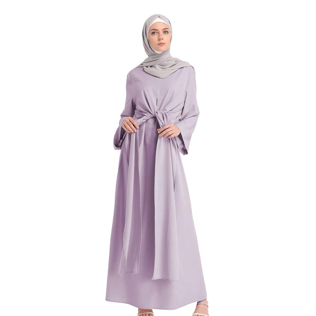 Women Fashion Comfortable Long Dress, Lady Soild Color Fake 2pcs Long Sleeve Muslim Strap Robes Tummy Wasit Simple Dress