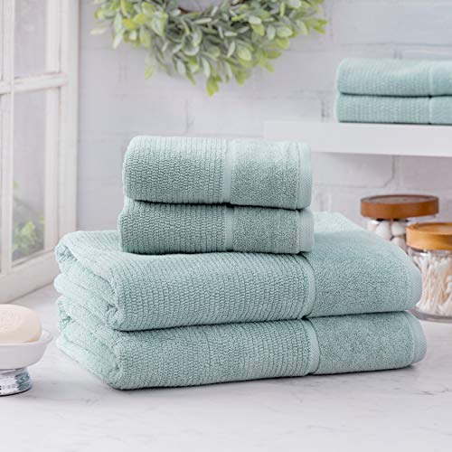 Welhome Anderson Luxurious 100% Turkish Cotton 6 Piece Towel Set (Mineral) Supersoft - Absorbent - Hotel Spa Bathroom Towel Collection - Machine Washable 2 Bath Towels - 2 Hand Towels - 2 Wash Towels