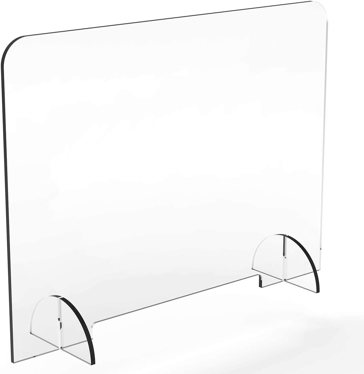 "Plastic Sneeze Guard for Counter and Desk – Quality American 1/4 inch Thick Acrylic– with Small Opening - 1.5"" Tall Opening (32"" Wide x 32"" Tall 1/4"" Thick)"