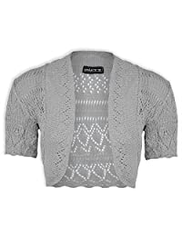 Girls Crochet Bolero Shrug Kids Knitted Short Sleeve Cardigan New Age 2-13 Years