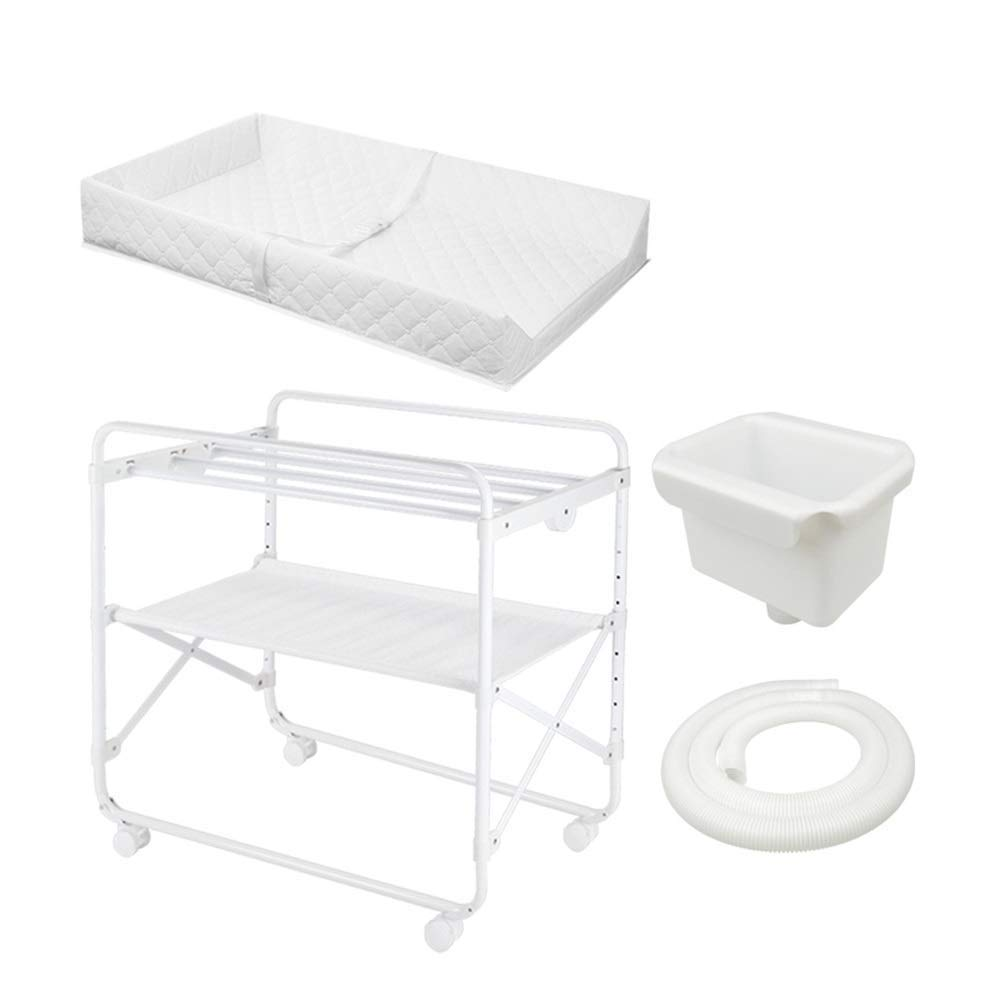 White Diaper Table, Folding Simple Portable Diaper Table, Baby Care Table, Newborn Baby Changing Diaper Table Massage Touch Bath Table