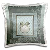 Sage Green Ornament with Snowflakes - Pillow Case, 16 by 16-inch by Bart Berkeley