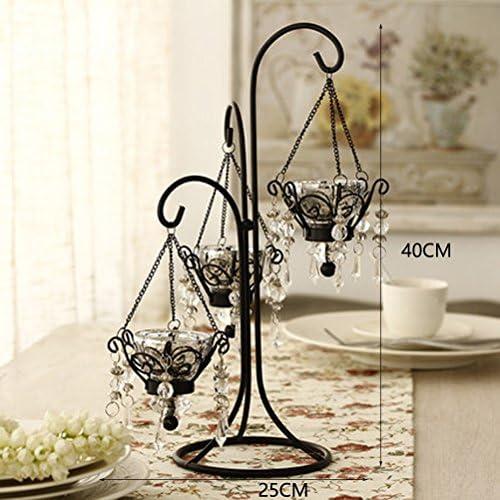 ヨーロッパのレトロなロマンチックな創造的な鉄のろうそくのテーブルホームキャンドルライトディナー小道クリスタルキャンドルスティック(25x25x40cm) (Color : Silver)